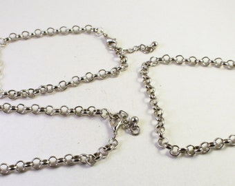 Silver-Finished Steel Bracelet Rolo Chains, 3 Bracelets, Wholesale Bead Findings