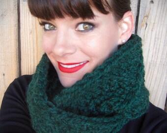 Crochet Infinity Scarf handmade green