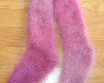 Hand Knitted Mohair Socks - ORCHID PINKS  Variagated - Light but Warm,  Soft, Fluffy - Long