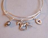 Monogram Bangle Bracelet, Expandable Charm Bracelet, Adjustable, Silver Bangle, Bangle Bracelet, Horse Charm Bracelet, Gift for Her