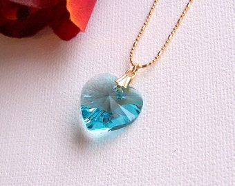 Swarovski Crystal Heart Pendant Necklace, Gold Filled Chain, Custom Color Crystal, Gift For Her