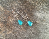 Turquoise and Bali Silver Flower Earrings