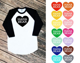 Mama Bear with Heart Black Raglan Sleeve Baseball TShirt - Family Photos, Baby Shower, Expecting, Announcement, Gift for Mom