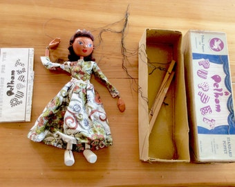 Pelham Puppet. Brown Box 1950s Type SS Queen, with Instructions. Vintage Wooden Marionette, String Puppet.
