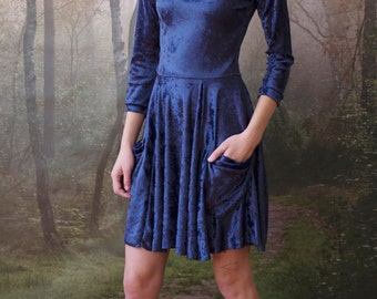 BLUE VELVET long-sleeve dress with pockets. Stretchy and effortless leotard dress, fit-and-flare cut with flowy skirt and side pockets.