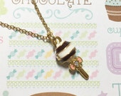 Chocolate and Cream Lollipop Golden Necklace, Candy Necklace, Confectionary Necklace, Sweet Necklace, Cute Necklace, Christmas Gift
