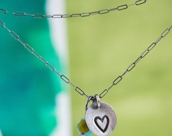 Stamped Heart Necklace  {Hand Stamped PMC 960 + Sterling Silver}