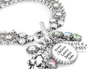 Mother's Jewelry, Personalized Charms, Hand Stamped Charms, Mom's Birthstone Bracelet