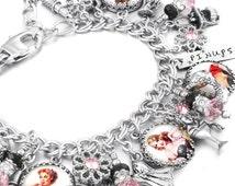 Pinups Charm Bracelet, Pinup Girls, Pinups Jewelry, PInups Bracelet, Vintage Pinups, Rockabilly Jewelry
