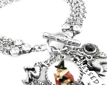 Wiccan Charm Jewelry, Witch Charm Bracelet, The Red Witch, Witches Cauldron
