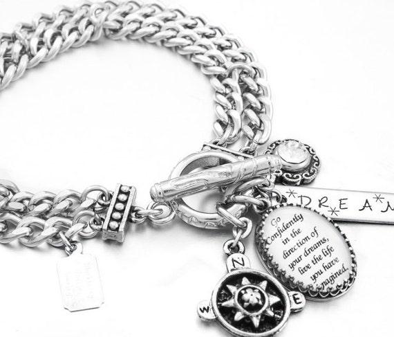 Inspirational Bracelet, Silver Inspirational Jewelry, Stainless Steel Charm Bracelet, Go Confidently
