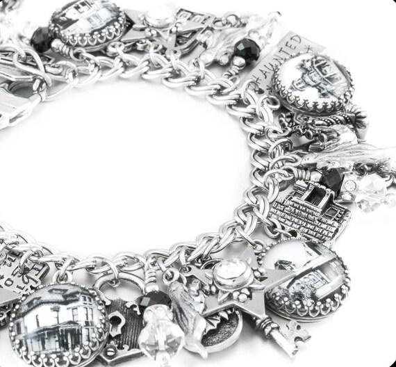 Halloween Charm Bracelet, Halloween Jewelry, Ghost Jewelry, Ghost Bracelet, Haunted House Jewelry