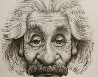 Einstein Celebrity Caricature Drawing - Digital Download Art Print