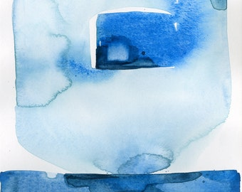 """Abstract Indigo Blue Zen Watercolor Painting, Serene, Peaceful, Tranquil, Original art """"Finding Tranquility 5"""" by Kathy Morton Stanion EBSQ"""