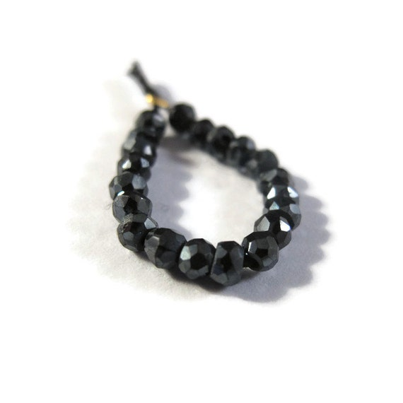 20 Mystic Black Spinel Beads, Tiny 3mm Natural Gemstone Rondelle Beads for Making Jewelry, Twenty Stones (L-Sp1)