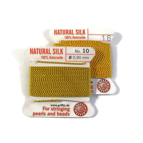 Size 10 or 16 : Lemon Yellow Cord, 100% Silk Cord with Built-In Stainless Steel Needle for Jewelry & Hand Knotting, 2 Yard Spool