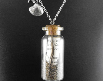 Jules Verne Letter Under the Sea Necklace - 20,000 Leagues In a Bottle by COGnitive Creations