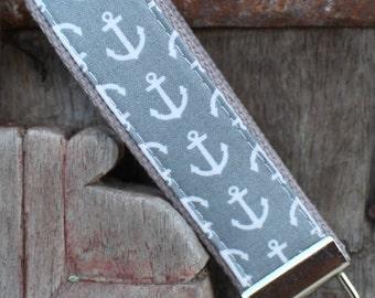 READY TO SHIP-Beautiful Key Fob/Keychain/Wristlet-White Anchors on gray