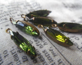 Olivine Green 15x4mm Vintage Glass Navette Earring Drops 6 Pcs