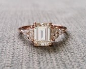 """Antique Moissanite and Diamond Engagement Ring Emerald Cut Baguette Flower Classic Rose Gold timeless PenelliBelle Exclusive """"The Margo"""""""