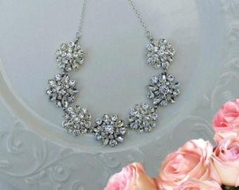 Bridal Necklace, wedding statement, Crystal Silver, Bridal Jewelry, Bridal Statement Necklace, Crystal Necklace, Wedding Jewelry