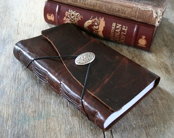 Leather Journal / Sketchbook / Wedding Guestbook . large 9x6 . Handmade Handbound . distressed dark brown (320pgs)