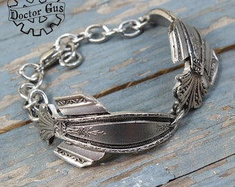 Double Spoon Spaceship Bracelet - Inspired by Antique Victorian Silverware - Handcrafted Steampunk Airship Jewelry Creations By Doctor Gus
