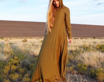 ORGANIC Chunky Cowl Wanderer Long Dress - ( organic tissue cotton knit ) - organic cotton dress