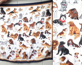 1980's DOG LOVER scarf // Pet Lover // Chow Chow Poodle // Kitschy Adorable // hipster polyester scarf // navy border // dalmation chihuahua