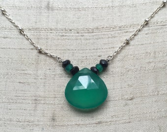 Green Onyx and Black Garnet Necklace