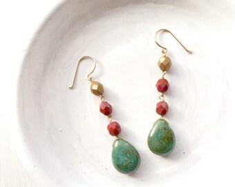 Turquoise Dangle Earrings // Turquoise Jewelry // Beaded Earrings // Handmade Jewelry // Gifts for Her // Boho Earrings // Made in Montana