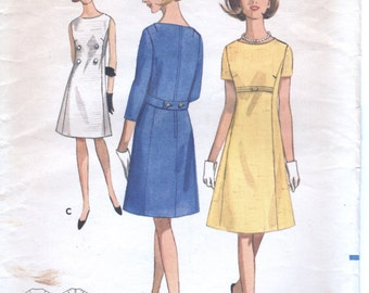 1960s Butterick 4076 Junior Misses Dress Sewing Pattern