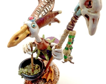 Sculpey figurine nicnac polymer clay / Goose Geese magical potion / Shaman magic fantasy sculpture OOAK wizard gift / Free journal gift