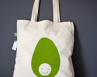 Avocado tote bag, organic cotton