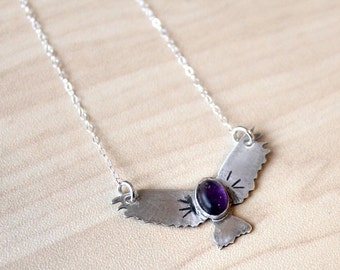Sterling Eagle Amethyst Necklace