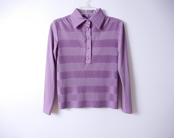 70s Pleated Blouse Muted Purple S