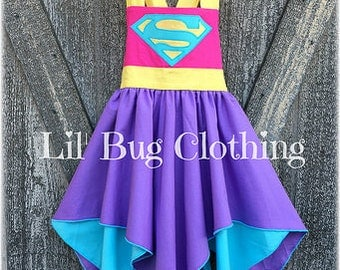 Superhero Supergirl Girl Costume, Pink  Teal Lavender Supergirl Costume, Superhero Supergirl Birthday Dress, Superhero Birthday Party