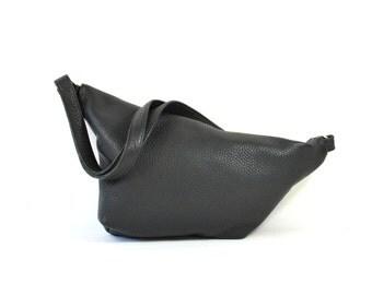 Emilie - Black Leather Shoulder Bag Handmade SS17