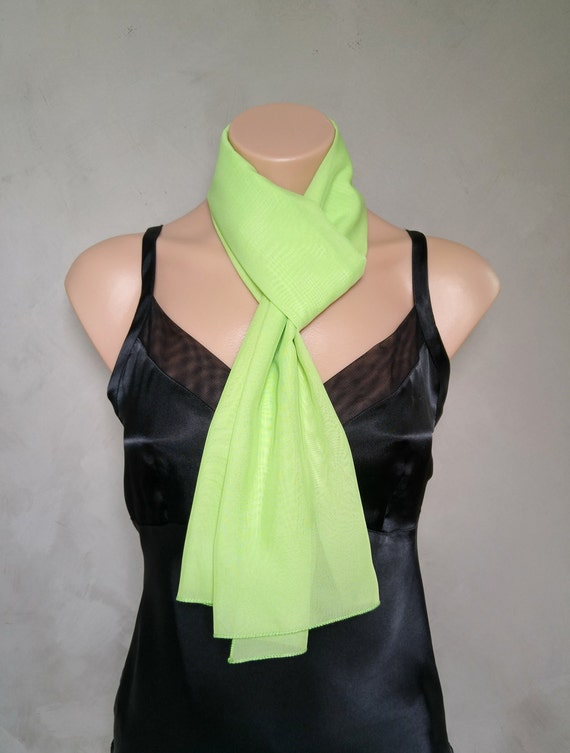 Green Sheer Chiffon Skinny Scarf Mint Green Scarf Daphne Scarf Green Chiffon Scarf Light Green Scarf Sheer Green Skinny Scarf Sheer Green
