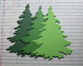 "24 Pieces Green Cardstock die cuts Evergreen Fir Trees 4 3/4"" tall 3 colors 8 of each"