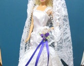 Barbie Wedding Dress, Barbie Clothes, Handmade Barbie Clothes, Handmade Wedding dress, Lace, White, Purple
