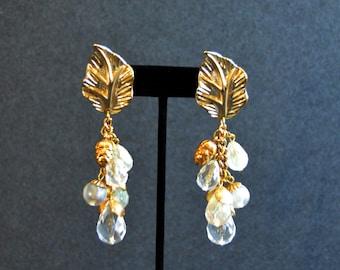 Long Dangling Earrings -1980's Gold Crystal Earrings Vintage Pierced Earrings Large Whimsical Jewelry