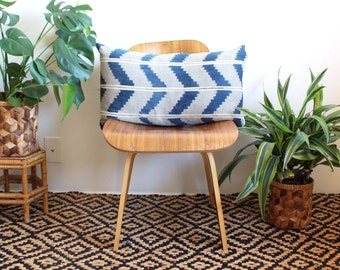 Indigo Zig Zag Lumbar Pillow, Chevron Pillow Cover, Vintage Indigo Ikat, Handwoven Pillow Cover, 15x25, Rose Gold, Bohemian Decor, Boho Home
