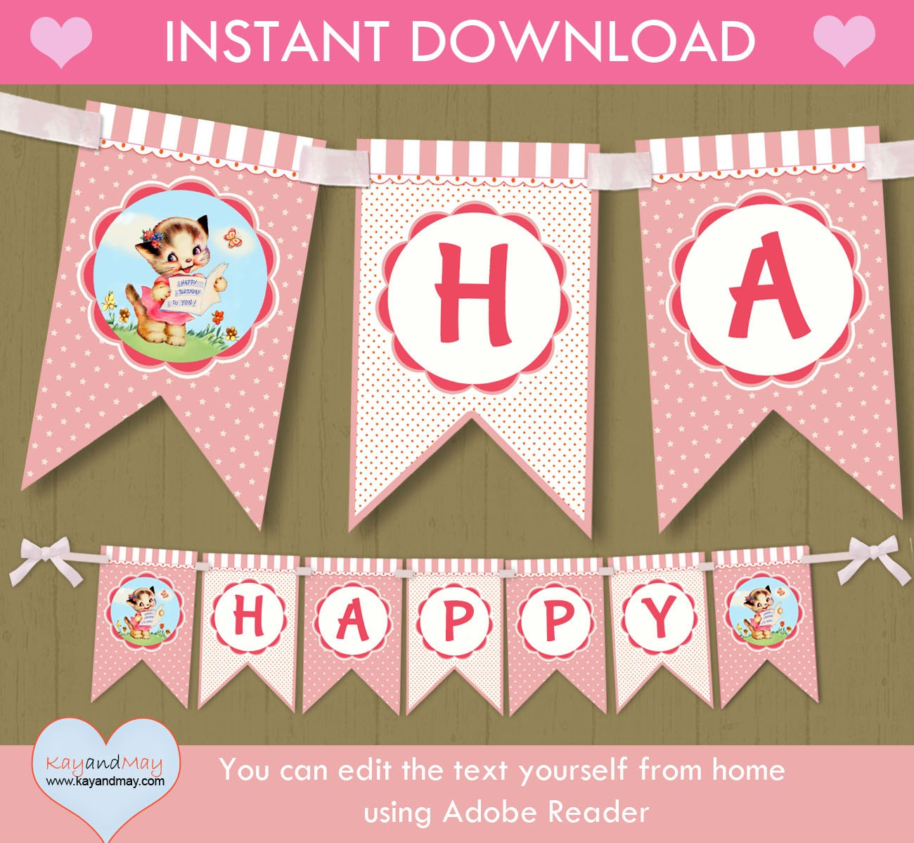 Cat Birthday Banner: Kitty Cat Birthday Banner / INSTANT DOWNLOAD Cute Printable