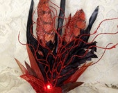 Black and red feather free hair fascinator - light up imitation feather hair clip - vegan hair fascinator - glow in the dark red fascinator