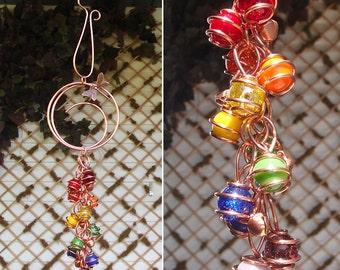 Dragonfly Butterfly Fairy Rainbow Wind Chimes / Gypsy Windchime Copper Glass Garden Art Suncatcher Yard/Lawn/Outdoor Decor