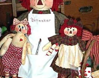 Rag Doll Pattern, Primitive Doll Pattern, Cloth Doll Pattern, Raggedy Instant Pattern, E-Pattern, The Dollmaker with Dolls & Accessories