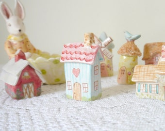 Miniature Cottage House, Blue Stripes with Red and Pink Roof, Ceramic Porcelain Clay