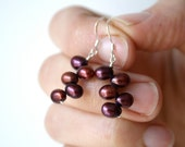 Red Bridesmaid Jewelry . Red Pearl Earrings Bridesmaid Jewelry . Red Drop Pearl Earrings Silver . Dark Red Earrings - Mia Collection
