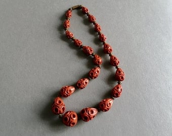 Antique Art Deco Deeply Carved Cinnabar Red Beaded Necklace